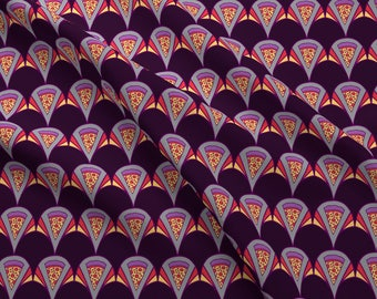 Art Deco Purple Pizza Fabric - Deco Pizza By Bettyturbo - Fun Food Hipster Home Decor Cotton Fabric By The Yard With Spoonflower