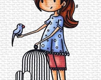 Meg and Birdie Digital Stamp by Sasayaki Glitter
