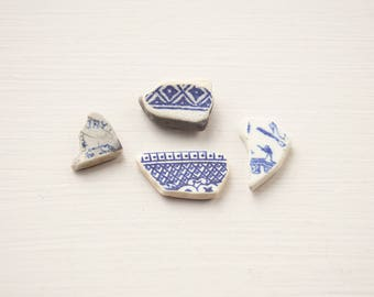 Blue and white sea pottery English sea china Surf tumbled Ocean worn Rustic mosaic tiles Coastal decor art Craft supplies Unusual unique diy