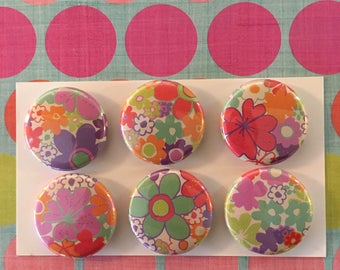 Bright Floral Magnets, one inch round