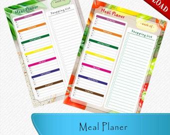 Meal Planner download, Meal Planner printable, Meal Planner editable