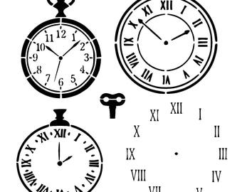 "12/12"" vintage clocks stencil."
