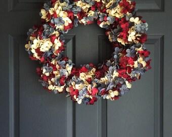 Couronne bleu blanc rouge | Couronne de patriotique | 4 juillet Couronne | Décor de couronne americana | Mélangé hortensia Couronne | Couronnes d'été |