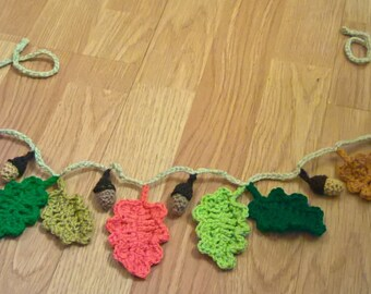 Crochet Autumn Oak Leaf and Acron Bunting
