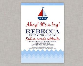 Nautical Baby Shower Invitation, Nautical Baby Shower, Boy, Printable