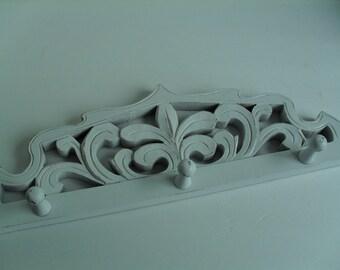 Wood Peg Rack Coat Rack White Shabby Distressed French Country Fleur de Lis