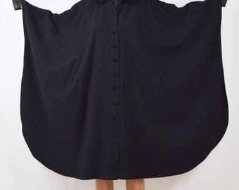 Vintage 80s 90s Black Wool Cape with Velvet Peter Pan Collar