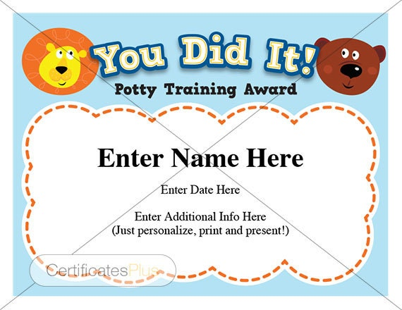 Potty Training certificate kids certificates child