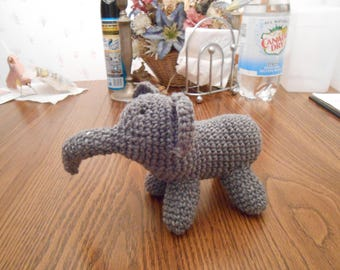 New HANDMADE Crocheted Gray Elephant