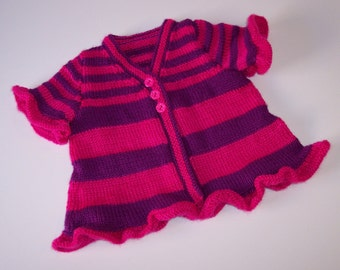 Babies, Baby Girl, Ruffled Baby Cardigan, 6 Months, Baby Shower Gift, Girl, Babies Purple, Raspberry Sweater, Short Sleeved, Soft