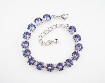 Provence Lavender Rhinestone Bracelet Swarovski Wedding Jewelry Bridesmaid Jewelry MADE TO ORDER