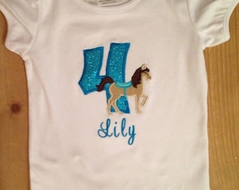 Turquoise Blue Birthday Pony Embroidered Shirt or Baby Bodysuit