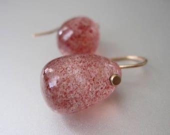 Hematite Quartz Lepidocrocite Jelly Bean Drops Solid 14k Gold Earrings