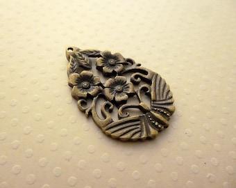 Pendentif ovale fleur bronze 42x27mm