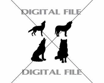 Four Wolves Vector Images A1 Vinyl Decal T-shirt Digital Cutting Files ,Svg File, Ai, Eps, PNG