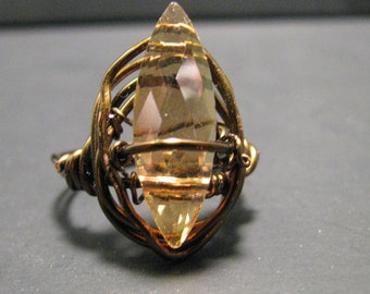 Burnished Copper and Glass Ring