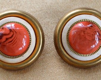 Large Faux Coral, Gold tone Button Clip Earrings (E16)