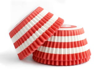 Coral Striped Cupcake Liners // Coral Baking Cups (Qty 50)