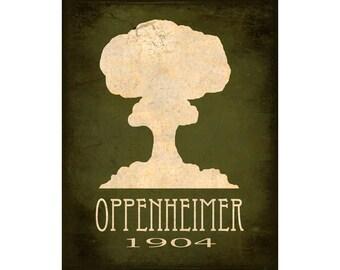 12x18 Science Art Print Oppenheimer Atomic Bomb Mushroom Cloud Explosion Steampunk Rock Star Scientist Geek Nerd Decor Scientific Poster