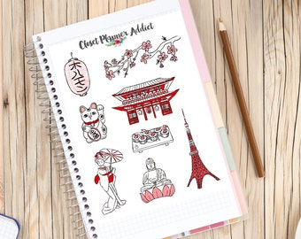 I Love Tokyo Travel Planner Stickers | Tokyo Stickers | Japanese Stickers | Travel Stickers | Wanderlust Stickers | Lucky Cat (S-165)
