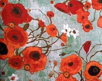"""KAREN TUSINSKI Designer Fabric,  Gallery Fiori POPPIES, By Karen Tusinski Well Known Artist Last Piece 40"""""""