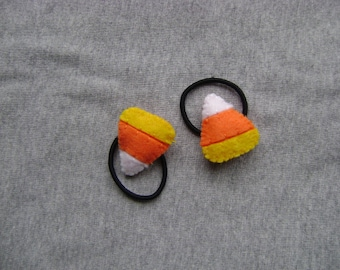 Candy Corn Ponytail Holders for Halloween