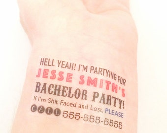 Bachelor Party Custom Temporary Tattoos - Bachelor Party Favors