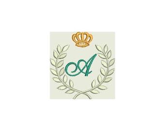 Monogram Letter Laurel Crown A to Z alphabet Embroidery Machine Design - Instant Donwload