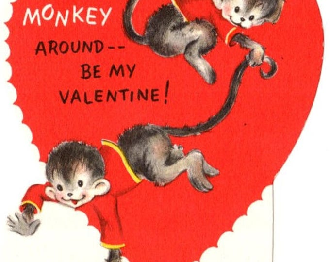 Vintage Don't Monkey Around Be My Valentine Die-Cut Children's Classroom Valentine's Day Card UNUSED