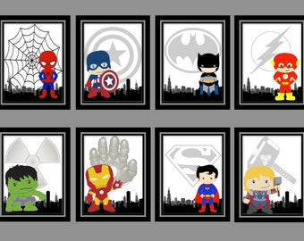 Super Hero Prints(8x10)-Iron Man, Hulk, Superman, Thor, Spiderman, Flash, Batman, Captain America, Wonder Woman, Nursery Decor  PRINTABLE