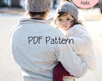 Messy Bun Hat Pattern- ADULT/CHILD/TODDLER, Messy Bun Beanie Pattern, Ponytail Hat Pattern, Crochet, Hats for Ponytails, Messy Bun Crochet