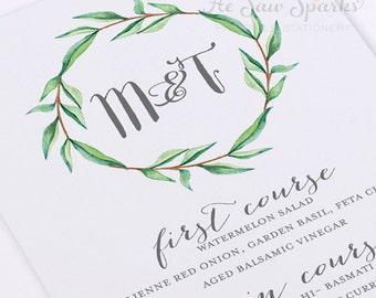 Printable Wedding Menu Card - Calligraphy