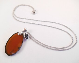 Orange Agate Necklace - Burnt Orange Agate Slab Pinecone Charm Necklace