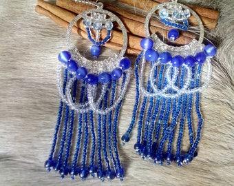 Blue cat's eye beaded earrings