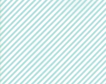 VINTAGE HOLIDAY Bonnie & Camille Vintage Christmas Bias Candy Stripe Aqua 1 Yard Moda Fabric