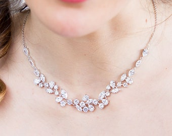 Bridal Necklace, Crystal Wedding Necklace,  Cubic Zirconia Necklace, Swarovski cristal Wedding Necklace, CZ Necklace, Rose gold Necklace