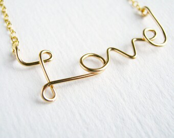 Gold Love Necklace. 14k Gold Fill Cursive Script. Valentines Day Gift