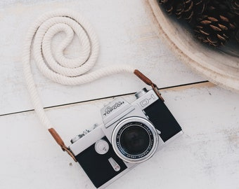 Creme Camera Strap Camera Neck Strap Rope Strap Leather Camera Strap Vintage Camera
