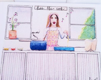 Cooking illustration, fashion recipe card, watercolor illustration, paper goods, watercolor cards, flat note card