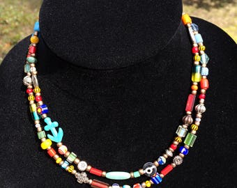 Good Karma long boho beaded necklace African Trade Bead necklace long beaded necklace ethnic long boho necklace long trade bead necklace