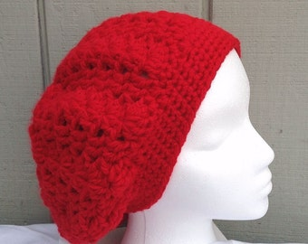 Crochet red beanie - Red slouchy hat - Womens red slouchy beanie - Womens red hat - Teens accessories