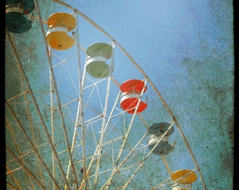 Ferris Wheel  Photograph Carnival Midway Ride Summer Photography Blue Red Yellow Ferris Wheel 8x12