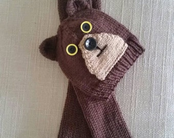 Brown Bear Hat and Scarf Set