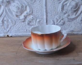 Porcelain Mustache Tea Cup And Saucer
