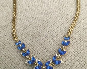 Vintage Blue and White Rhinestone Necklace