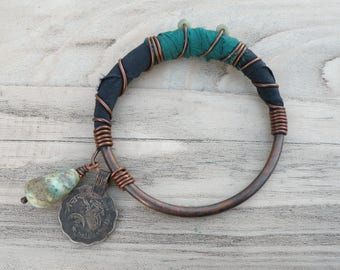 Silk Road Copper Bangle - Handmade Boho Silk Wrapped Bangle with Tribal Metalwork & Recycled Sari Silk in Navy and Teal