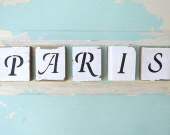 "Paris Wall Art, Shabby and Chic Art, Word Art, Paris Decor, Rustic Decor, Aqua Blue Girls Room, Peeling Paint, French Art- ""Shabby Paris"""