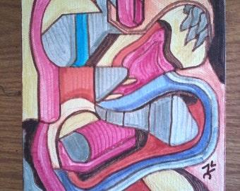 """Secret Garden --- Early Hyper-Cubism 5""""H X 7""""V Original Art"""