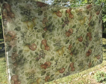 """Vintage Thin Cotton Tablecloth - Beige/ Sage/ Lime/ Russet/ Fruits - Spring/ Summer Decor - 48"""" by 65"""""""