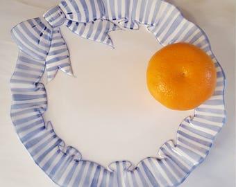 Mothers Day Gift Vintage Dinnerware Blue Stripe by Haldon Group One Salad Plate White Ribbon Rim Retro Farmhouse Decor 1980s Fun to Have